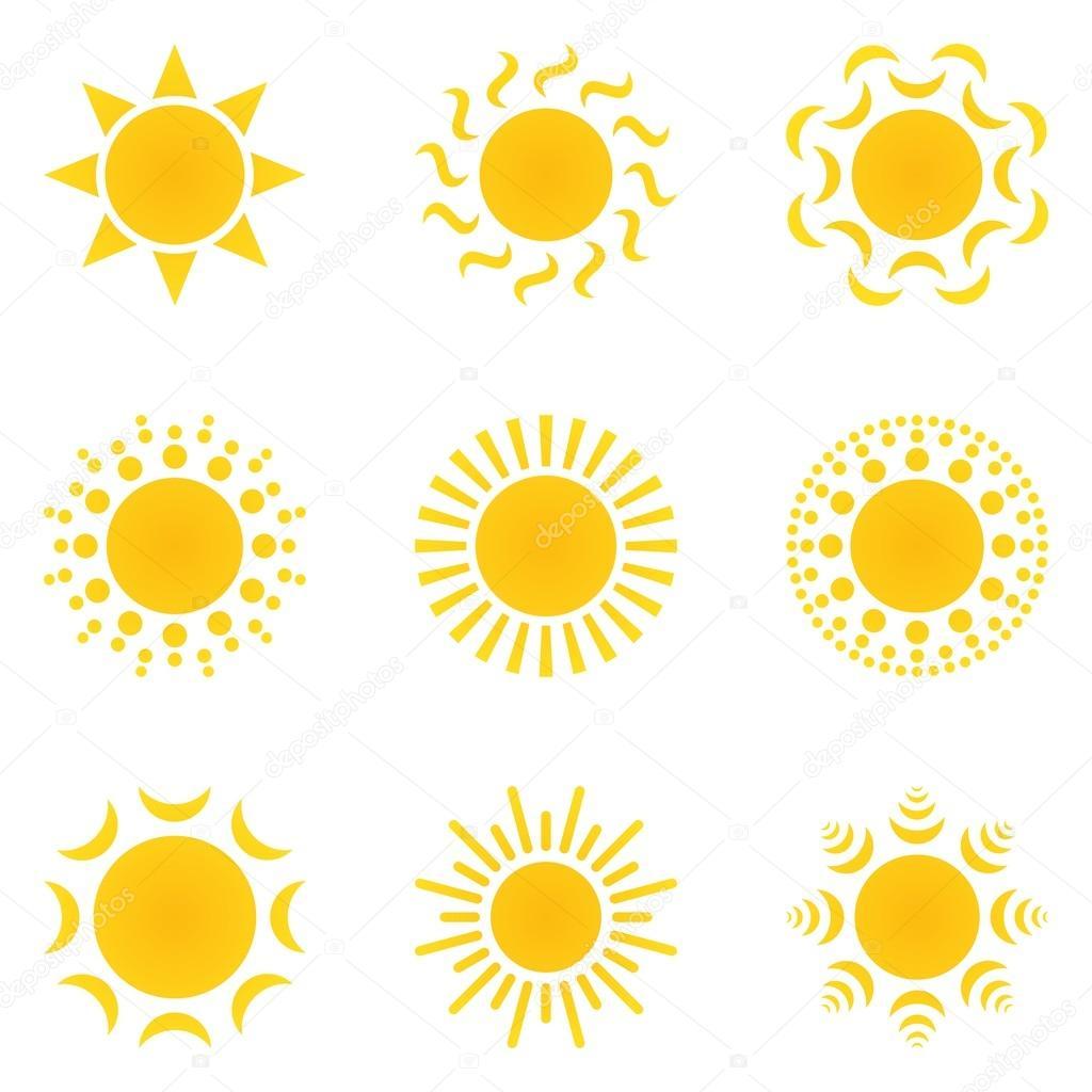 Set orange-yellow sun on a white background