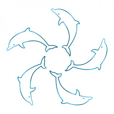 Five blue contour dolphin tails linked in a circle on a white background