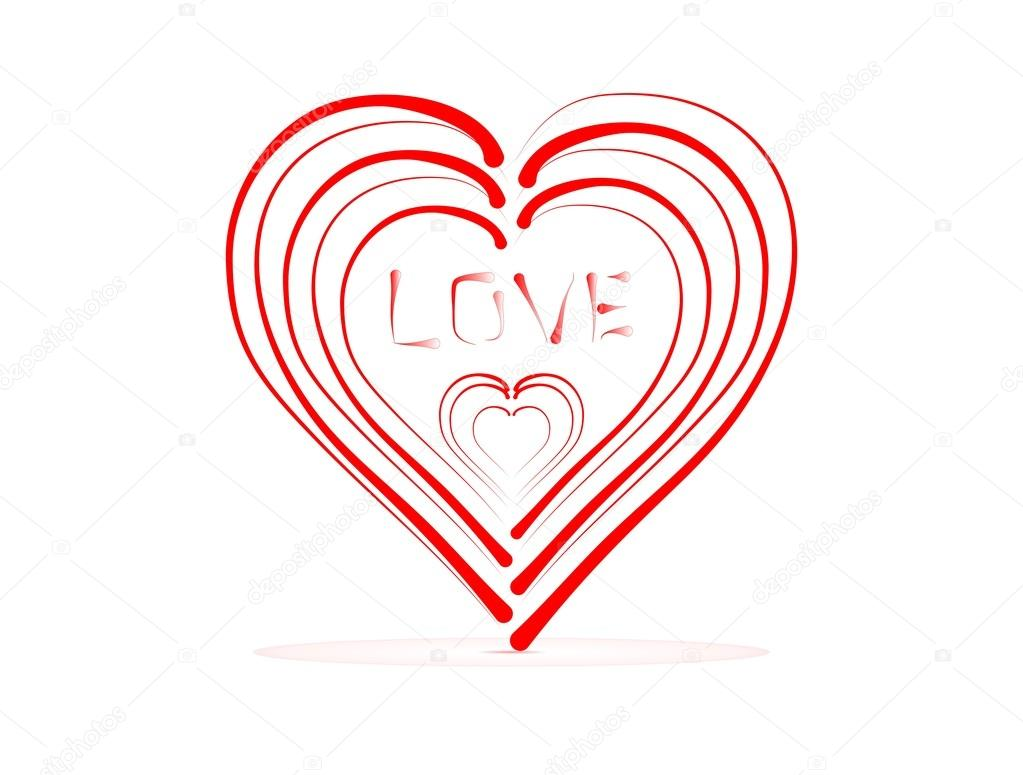 Small Red Hearts In A Large Heart With The Word Love With Red Shadow
