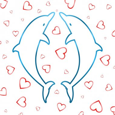 Two blue contours leaping dolphins on a white background with red hearts