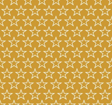 Golden Christmas background with white stars contours alternately in a row