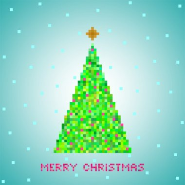 Blue Christmas greeting from green Christmas tree of green pixels, small green squares with red squares with gold star and snow on a blue square and red lettering Merry Christmas