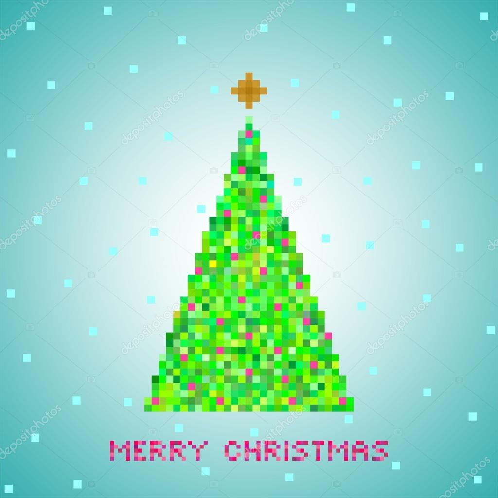 Blue Christmas greeting from green Christmas tree of green pixels ...