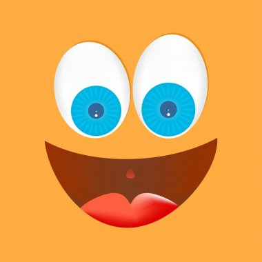 Orange face with big eyes, white with blue lenses with a big laugh with a red tongue with mouth open with gleaming eyes on an orange background