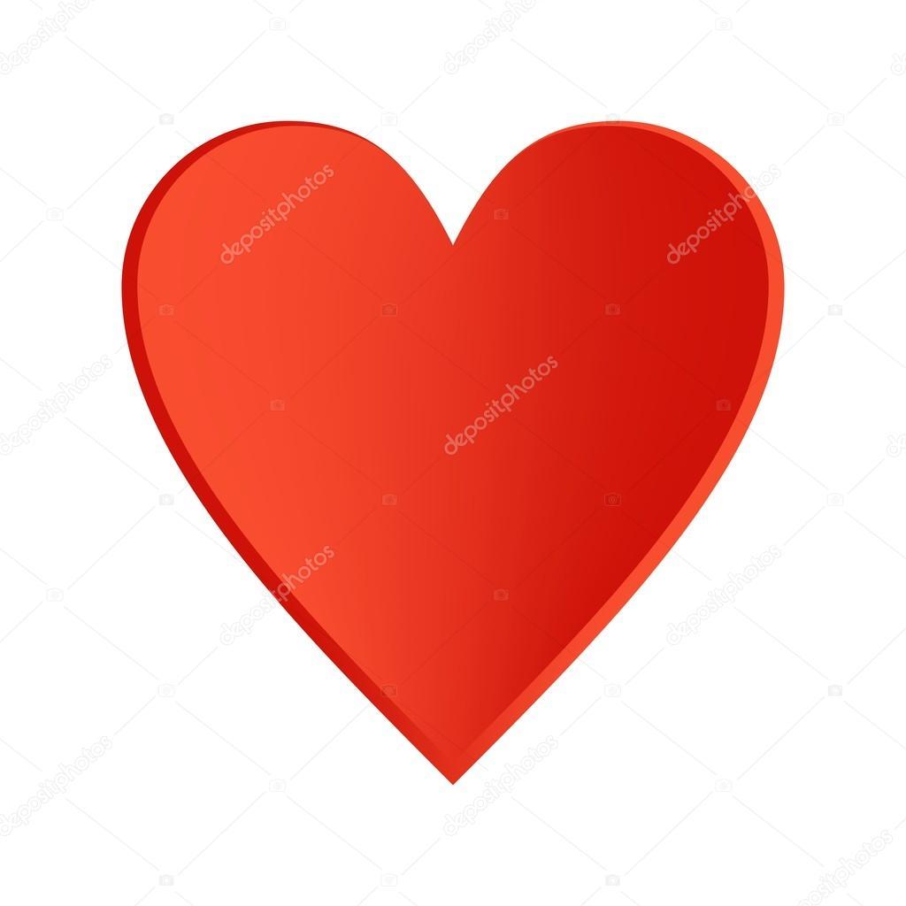 Coeur Rouge Avec Un Contour Noir Sur Fond Blanc Image