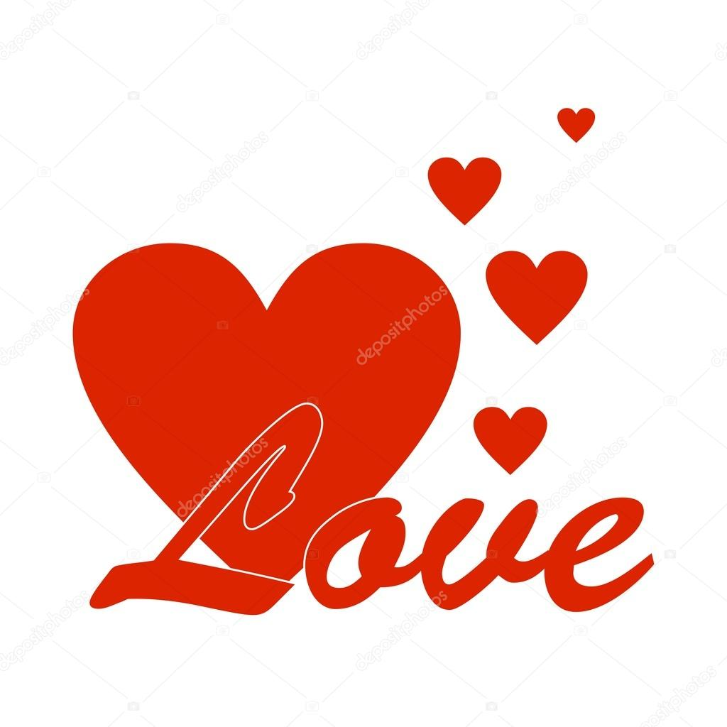 Red Valentines Greeting With Red Lettering Love The Big Red Heart