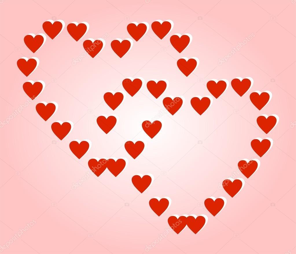 Küçük Kalpler Pembe Bir Arka Plan üzerinde Oluşan Iki Büyük Kırmızı