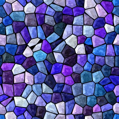 blue and purple marble irregular plastic stony mosaic seamless pattern texture background with dark grout