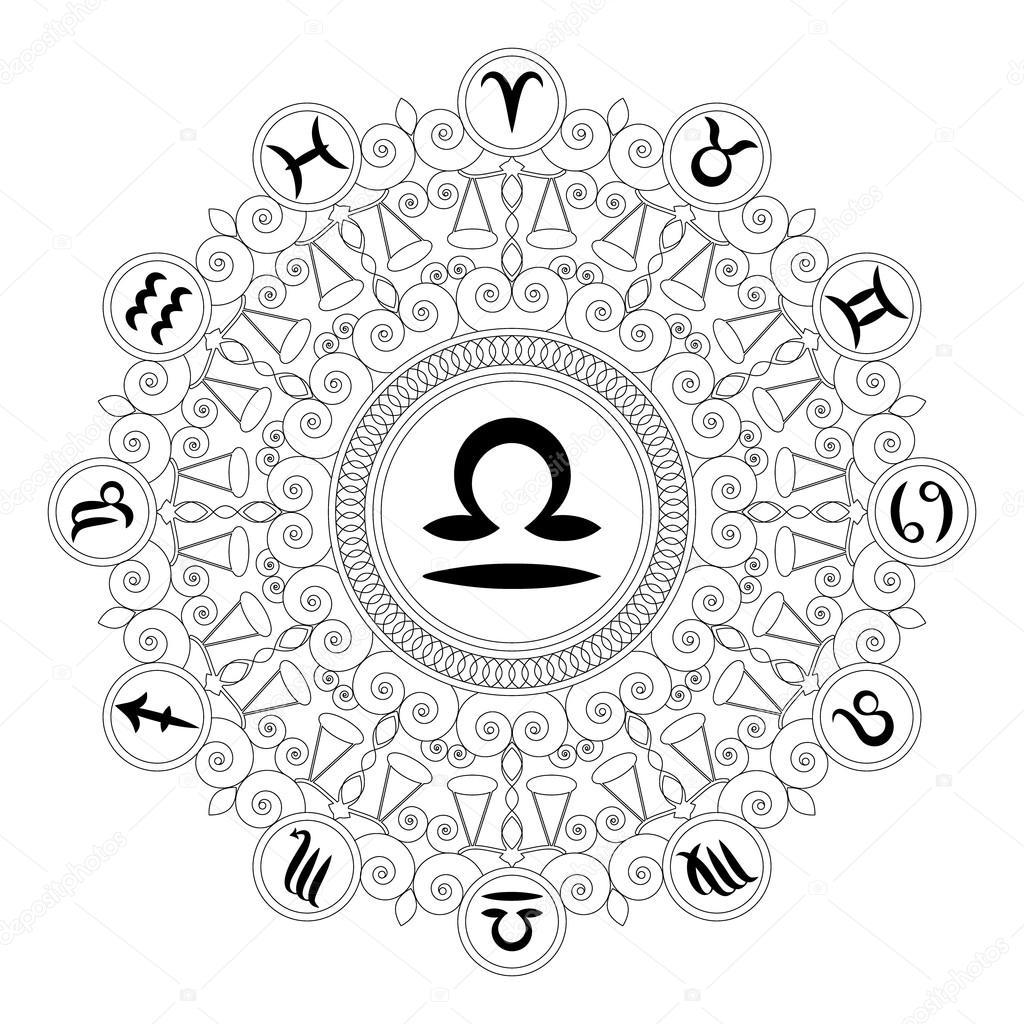 Black and white round geometric mandala with zodiac symbol of black and white round geometric mandala with zodiac symbol of libra adult coloring book biocorpaavc Choice Image