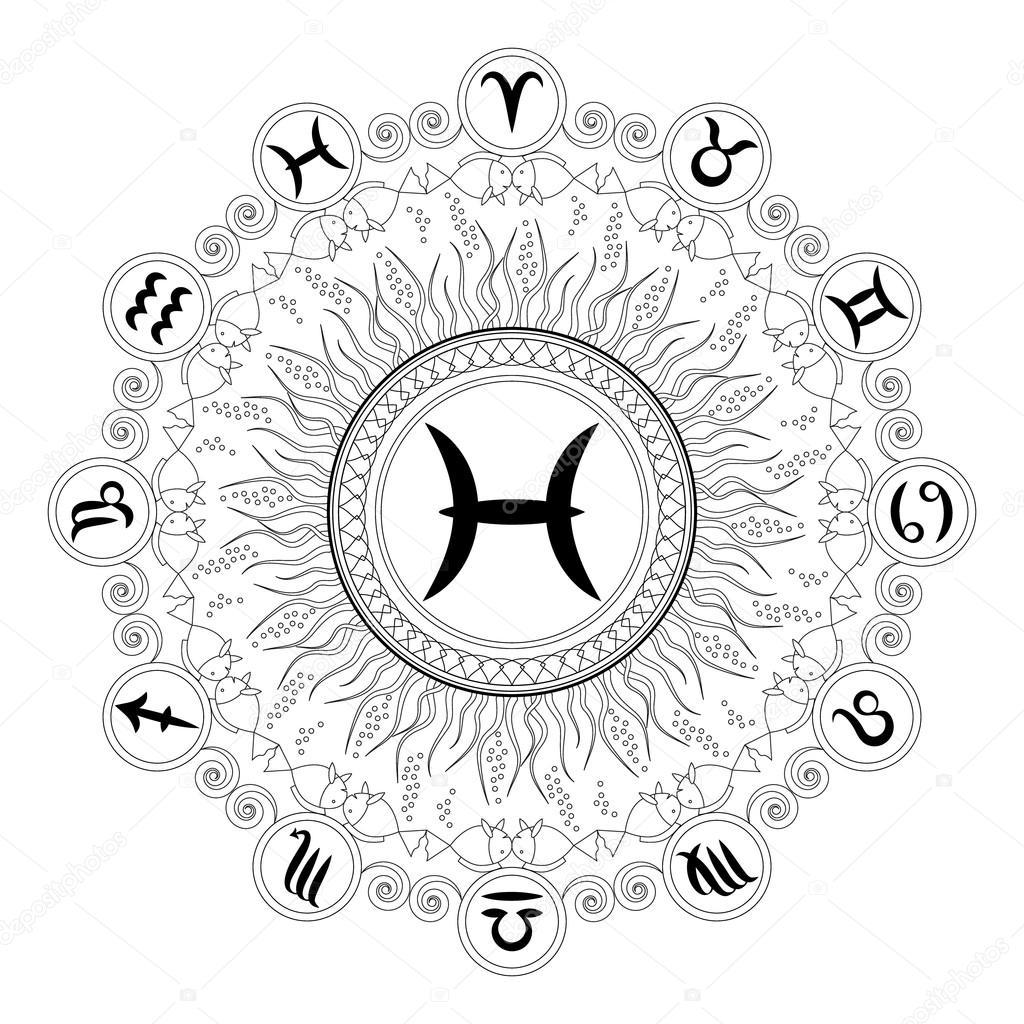 blanco y negro geométrico mandala con el símbolo del zodiaco de ...