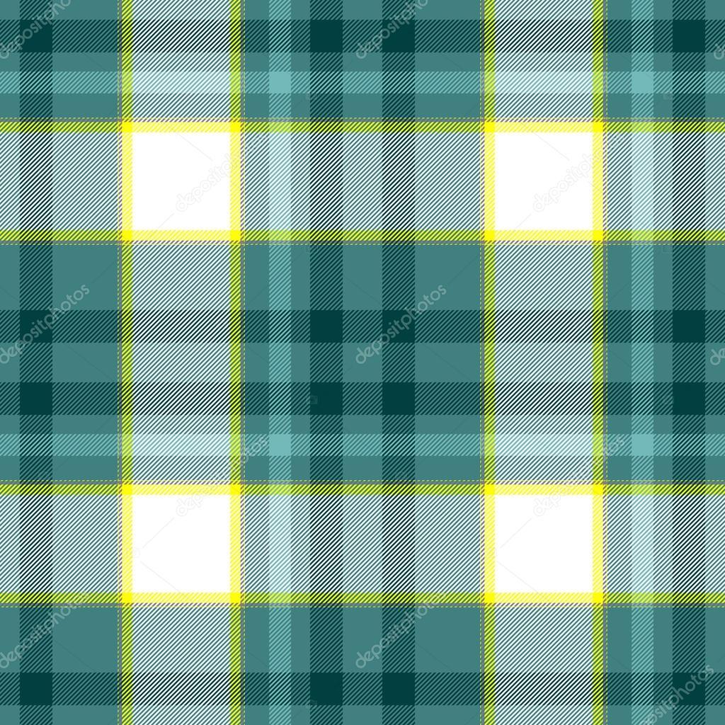 チェック ダイヤモンド タータン チェック柄のファブリック シームレス パターン テクスチャ背景 - 緑、青、黄色と白の色 — ストック写真