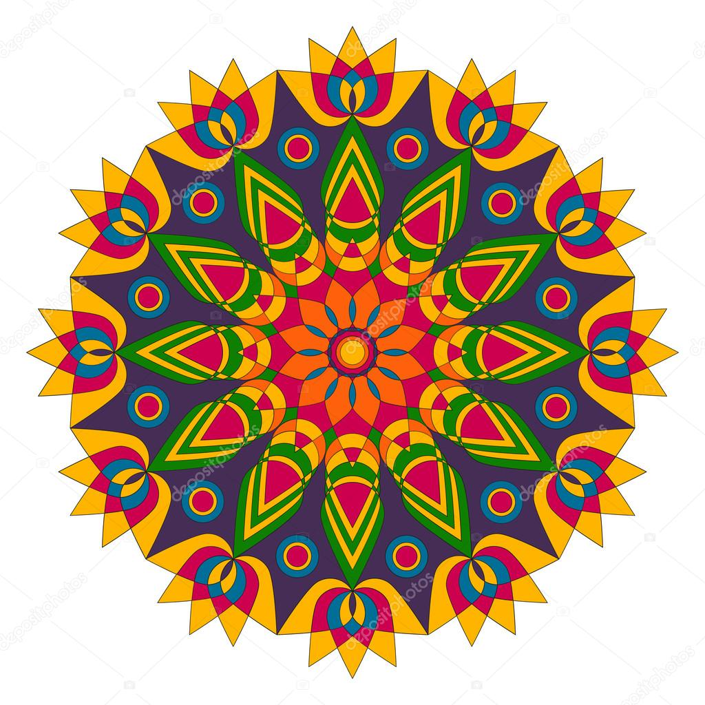 Colored Geometric Mandala Lotus Flower Shape