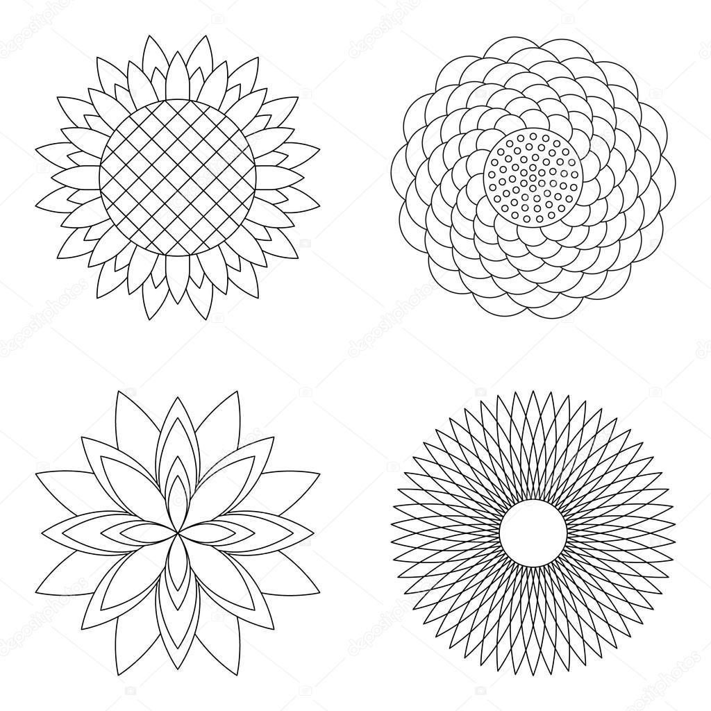 Dört Vektör çiçek Basit Mandalalar Gül Ayçiçek Lotus Ve Aster