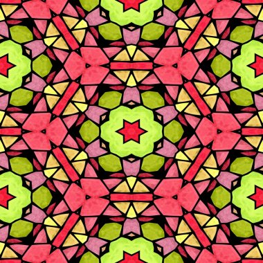 mosaic kaleidoscope seamless pattern texture background - pink green yellow colored with color black grout