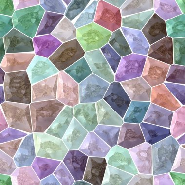 pastel colorful spectrum marble stony mosaic seamless pattern texture background with white  grout