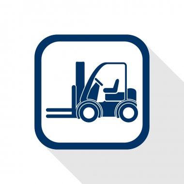 Square blue icon forklift truck with long shadow