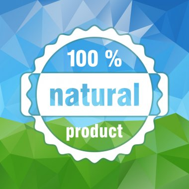 White vector natural product stamp on country landscape