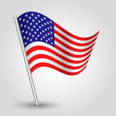 Vector 3d waving american flag on pole