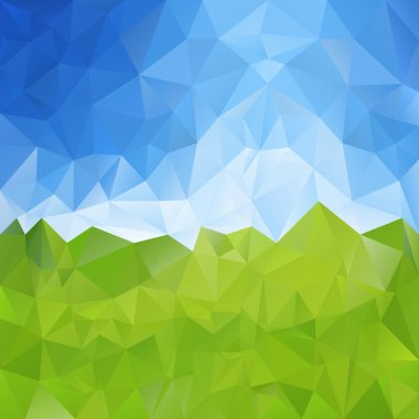 Vector polygonal background - triangular design in meadow with sky colors - green and blue