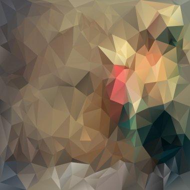 Vector polygonal background triangular design in vintage colors - brown, beige, green