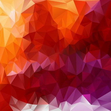 Vector polygonal background - triangular design in fiery  colors - red, pink, violet, purple, orange, yellow