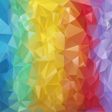 Vector polygonal background - triangular design in rainbow spectrum colors - vertical stripes