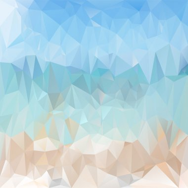 Vector polygonal background pattern - triangular design in light sea beach colors - blue and  beige
