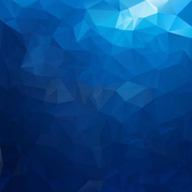 Vector polygonal background pattern - triangular design in sea water colors - blue