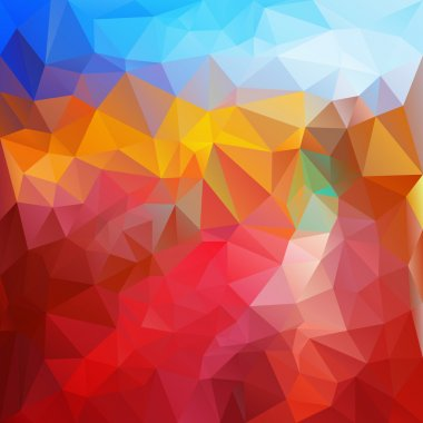 Vector polygonal background pattern - triangular design in fire colors - red and blue