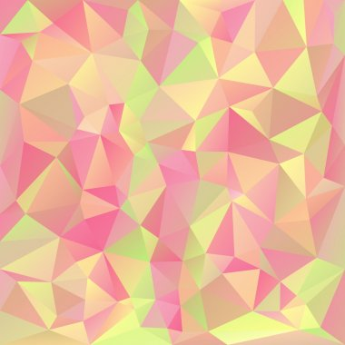 Vector polygonal background pattern - triangular design in pastel spring colors - pink, yellow, green, orange