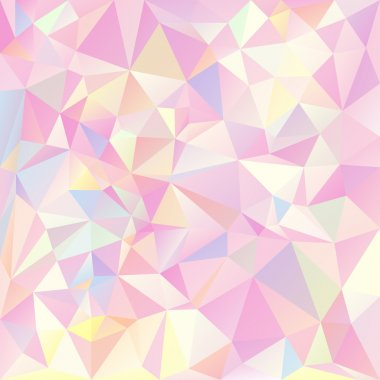 Vector polygonal background pattern - triangular design in pastel spring colors - pink, yellow, blue and green