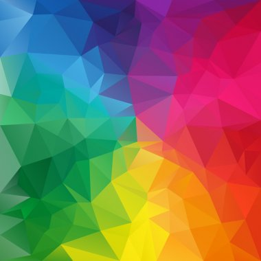 Vector polygonal background pattern - triangular design in full spectrum colors - rainbow