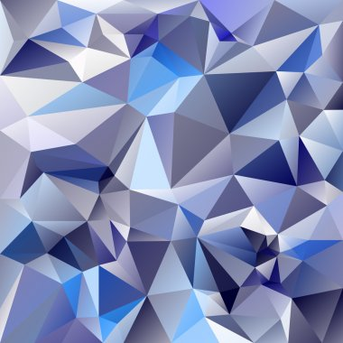 Vector polygonal background pattern - triangular design in ice glass colors - blue