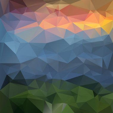 Vector polygonal background triangular design in nature colors - landscape mountains