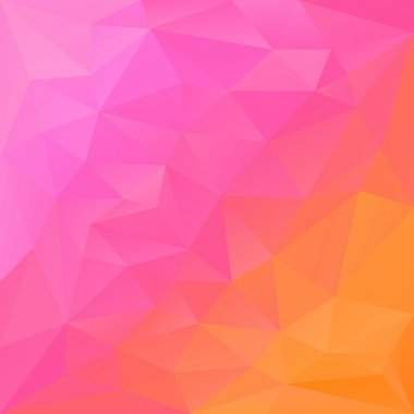 Vector polygonal background with triangular design in reflection colors - pink and orange