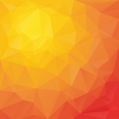 Vector polygonal background with triangular design in reflection colors - red, orange, yellow