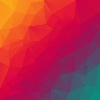 Vector polygonal background triangular design in rainbow spectrum colors - orange, red, violet, blue