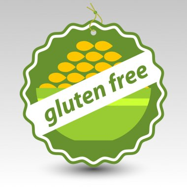 Vector green gluten free paper price tag label wheat