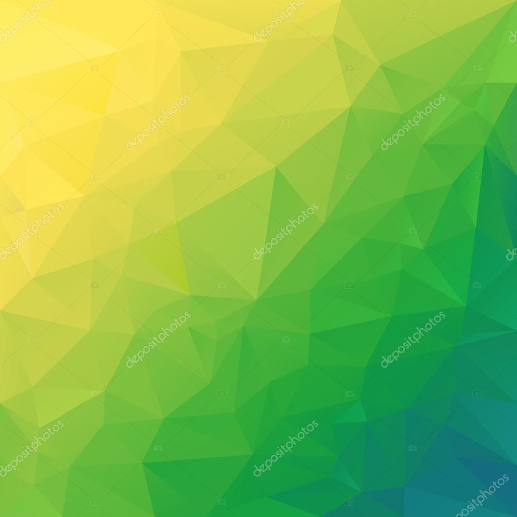 Vector polygonal background pattern - triangular design in diagonal colors - green, yellow, blue