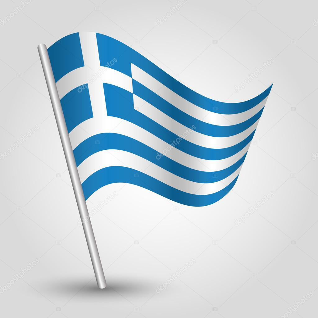 Vector waving triangle greek flag on pole national symbol of vector waving triangle greek flag on pole national symbol of greece with inclined metal stick biocorpaavc Image collections