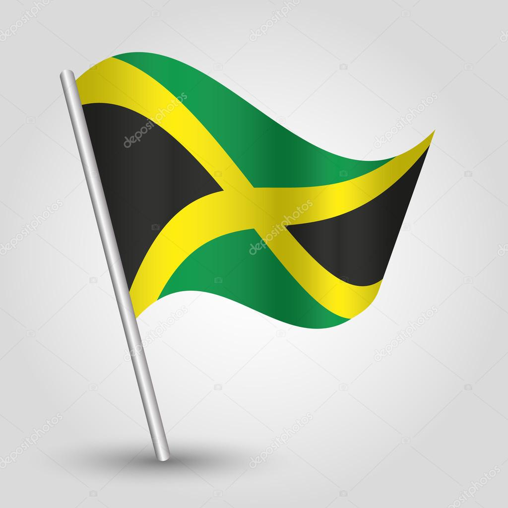 Vector Waving Triangle Jamaican Flag On Pole National Symbol Of