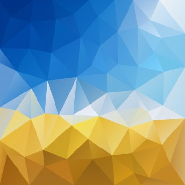 vector polygon background with irregular tessellation pattern - triangular geometric design in harvest color - yellow grain and blue sky