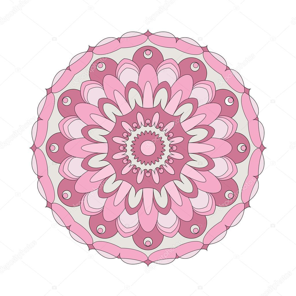 Kitap Sayfa Dairesel Desen Mandala çiçek Boyama Vektör Yetişkin Eski