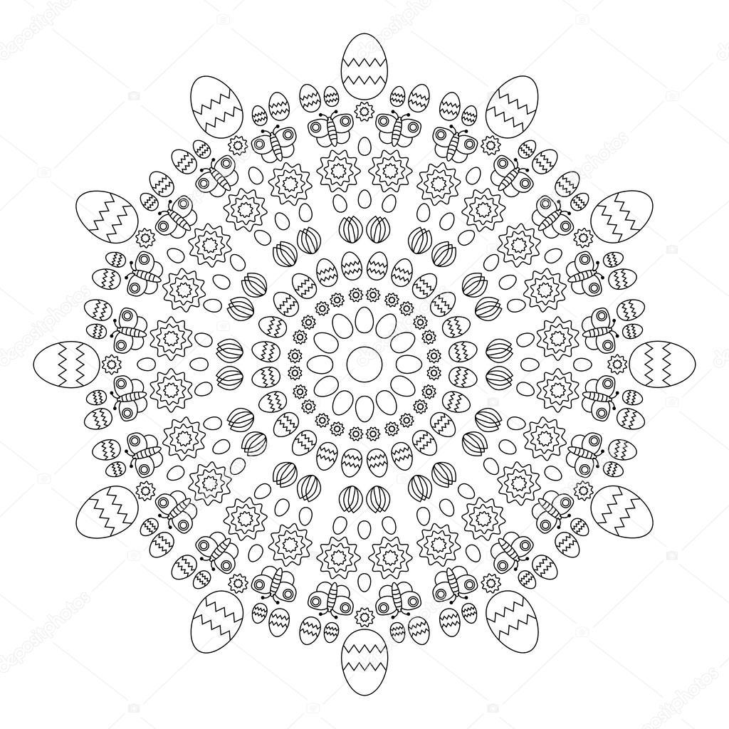 Kleurplaten Pasen En Lente.Vector Volwassene Boek Pagina Circulaire Patroon Mandala Lente