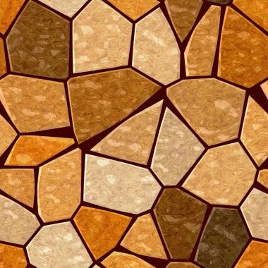brown orange marble irregular plastic stony mosaic seamless pattern texture background with dark grout
