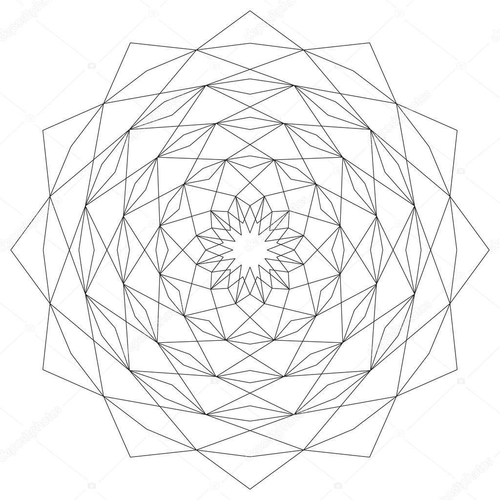 Vektör Boyama Kitabı Sayfası Döngüsel Astral Geometrik Desen Mandala