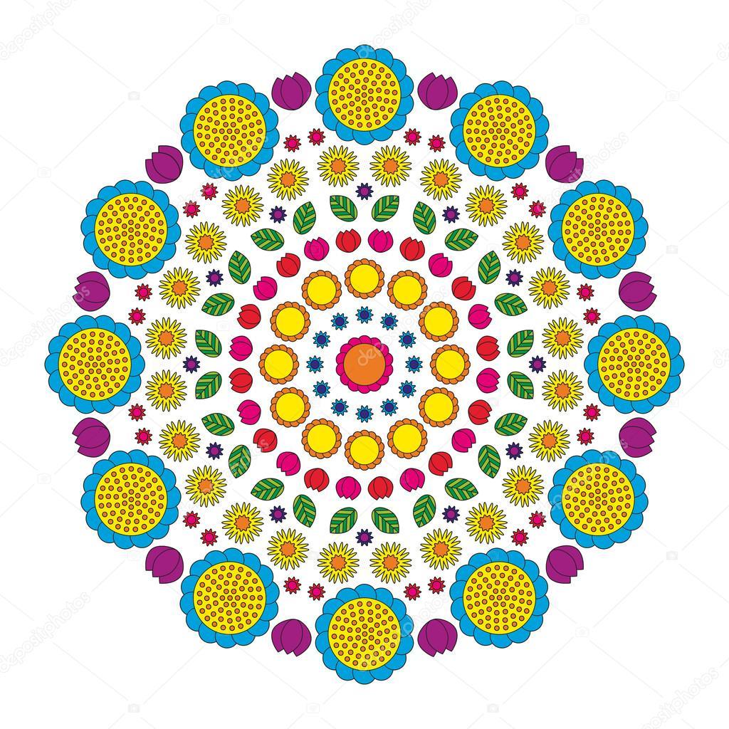 Coloriage Mandala Couleur.Vector Adultes Coloriage Livre Page Motif Circulaire Mandala Drole