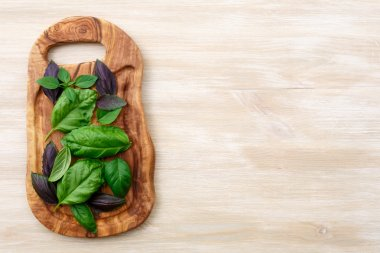 Heirloom basil on wooden table