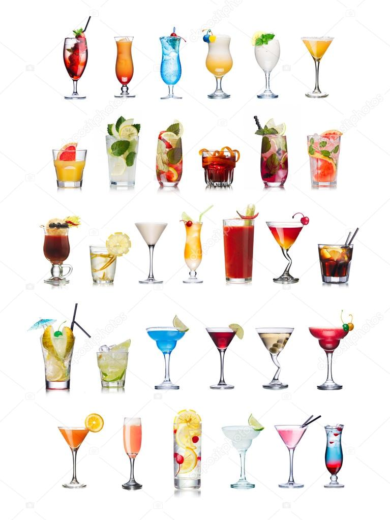 Popular alcoholic cocktails isolated on white