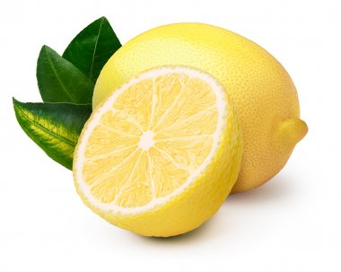 Whole and halved lemon with leaves. Clipping paths, infinite depth of field stock vector